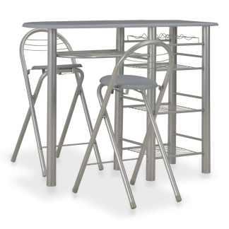 vidaXL Baro baldų kompl. su lent., 3 d., pilkos sp., med. ir plienas