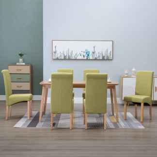 vidaXL Valgomojo kėdės, 6 vnt., žalios, audinys