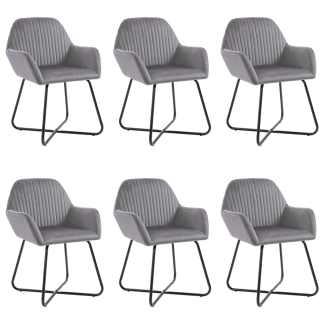 vidaXL Valgomojo kėdės, 6vnt., pilkos spalvos, aksomas