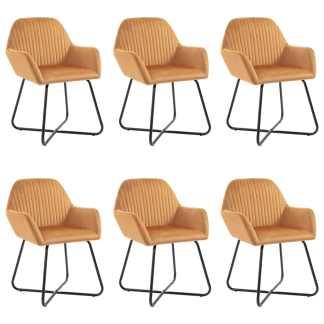 vidaXL Valgomojo kėdės, 6vnt., rudos spalvos, aksomas