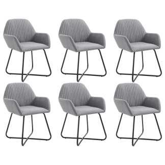 vidaXL Valgomojo kėdės, 6 vnt., švies. pilkos sp., audinys (3×249807)
