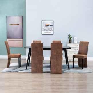 vidaXL Valgomojo kėdės, 6vnt., rudos, dirbtinė versta oda
