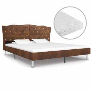 vidaXL Lova su čiužiniu, ruda, 180×200, audinys