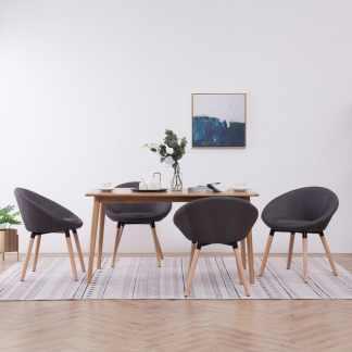 vidaXL Valgomojo kėdės, 4 vnt., tams. pilk. sp., audinys (2×283440)
