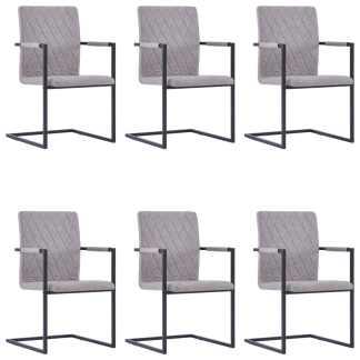 vidaXL Valgomojo kėdės, 6 vnt., švies. pilk. sp., dirbt. oda, gembinės