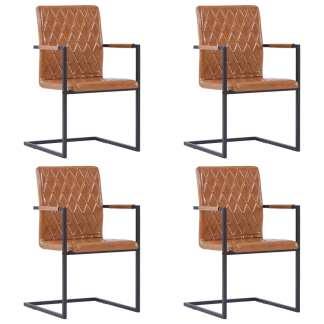 vidaXL Valgomojo kėdės, 4 vnt., blizg. rudos sp., dirbt. oda, gembinės