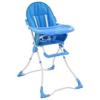 vidaXL Aukšta maitinimo kėdutė, mėlynos ir baltos spalvos
