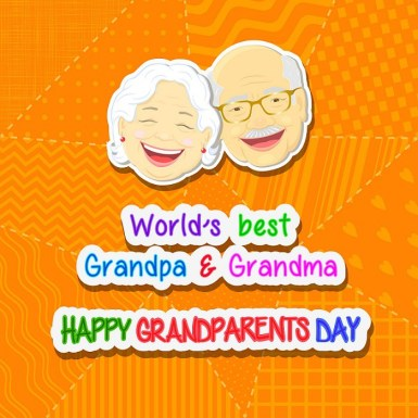 Greetings on grandparents day with the phrase and face of grandfather and grandmother on a blue background in a patchwork style