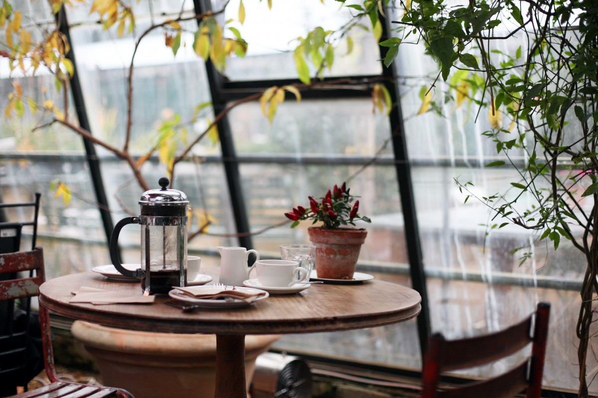 French Press on Table