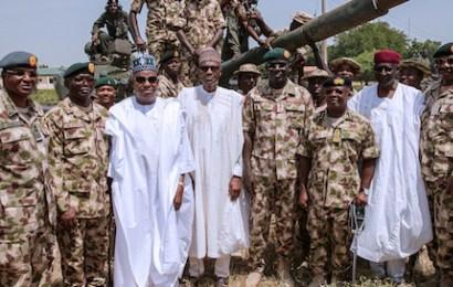 Buhari in Maiduguri, lauds military