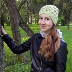 roheline puuvillane kevadmüts, knitted lace hat