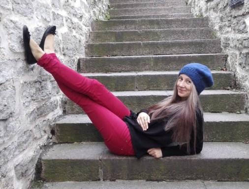 fun with dark blue beret hat