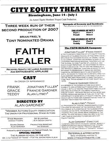 "Program, ""Faith Healer,"" by Brian Friel"