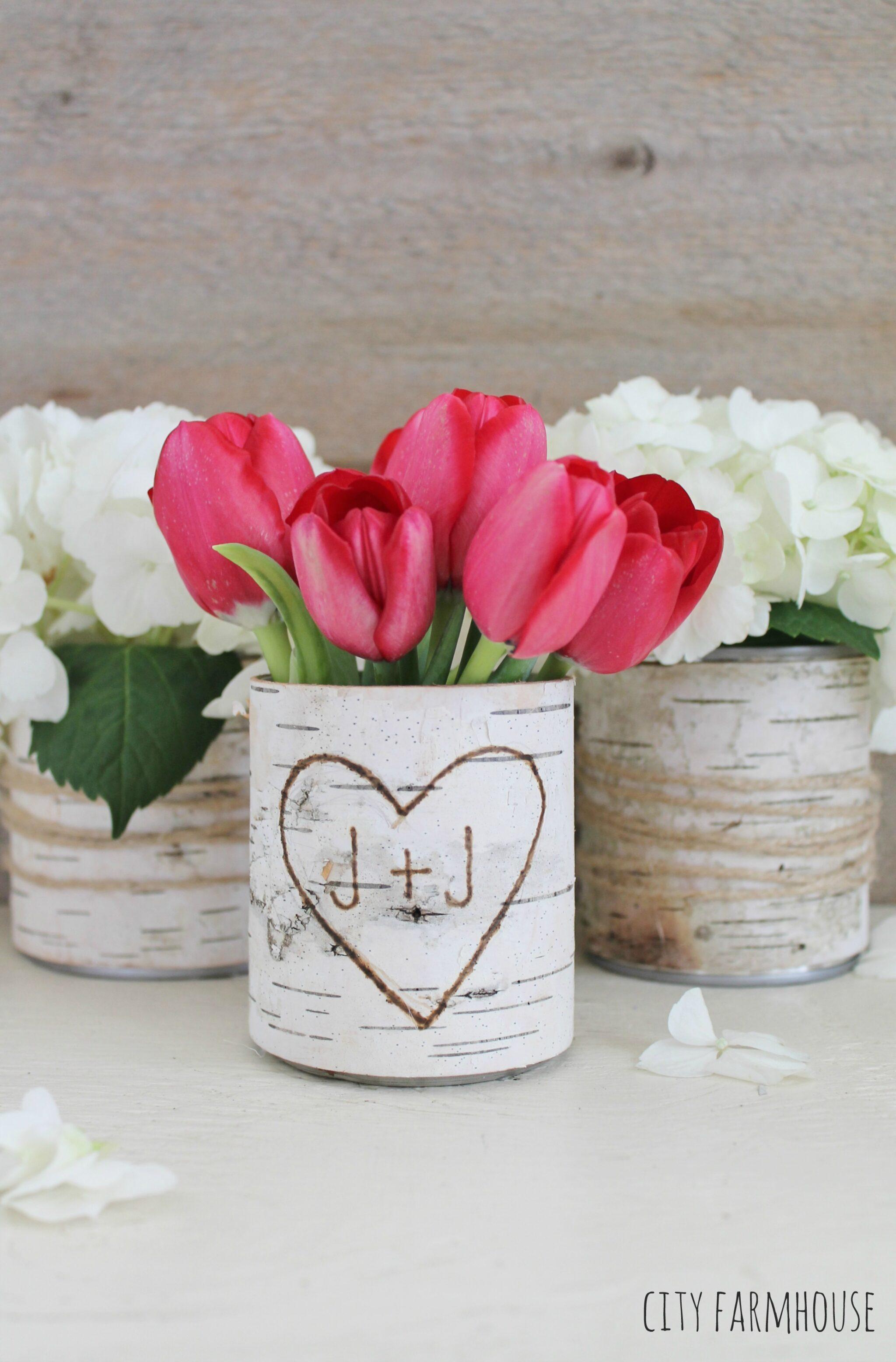 diy birch flower vases rustic table