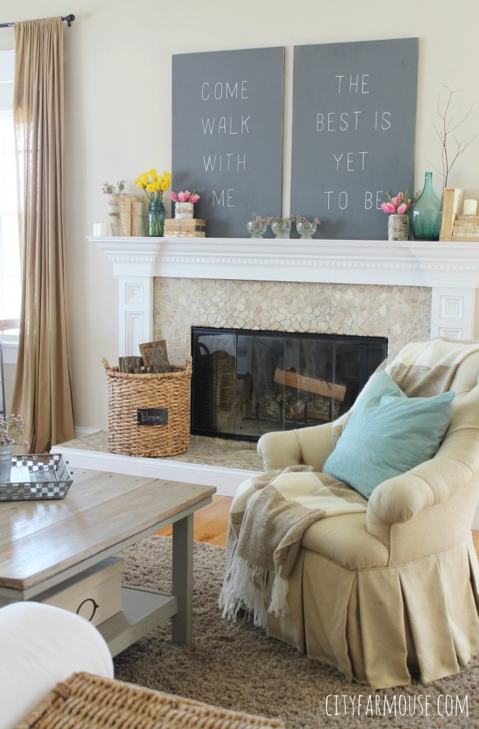 Farmhouse Style Living Room with Fireplace Art on the Mantel Rustic Wood Coffee Table
