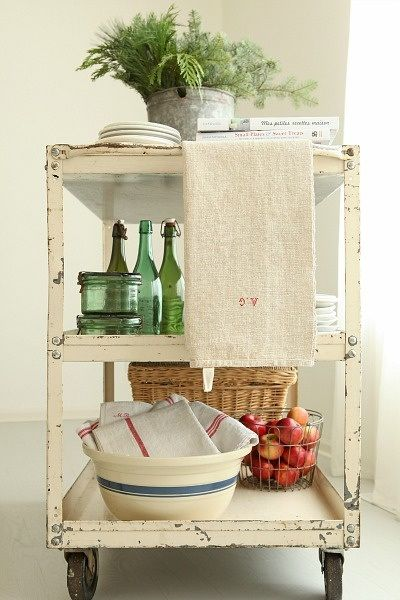 French Larkspur Vintage Bar Cart