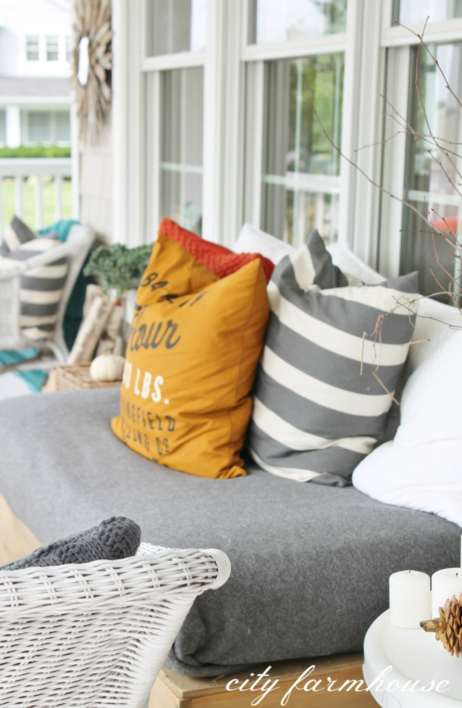 sofa throw pillows cheap table distressed white rustic fall front porch - city farmhouse