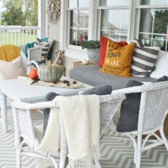 Small Wicker Sofa Back Support For Rustic Fall Front Porch - City Farmhouse