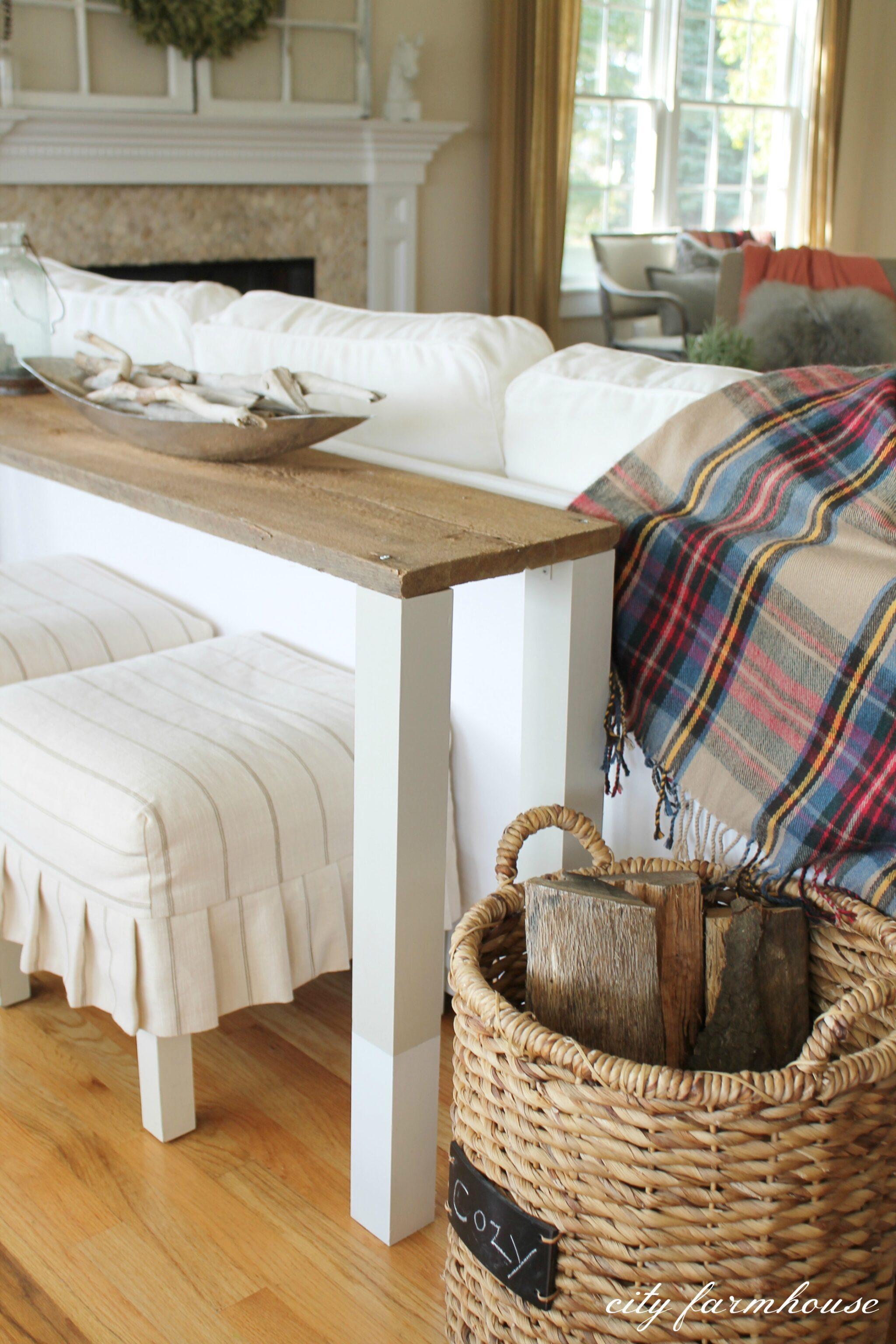 The Easiest DIY Reclaimed Wood Sofa Table  City Farmhouse