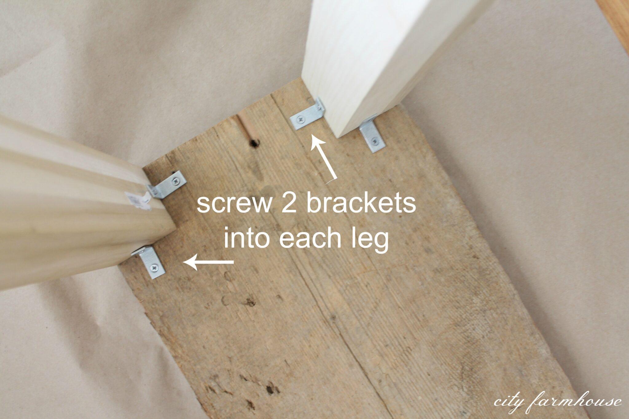 wooden sofa table legs studio bandung the easiest diy reclaimed wood city farmhouse screw brackets into