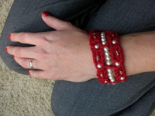 Crochet Blinged Beaded Bracelet, a free pattern by City Farm House Studio. Bernat Satin with beads.