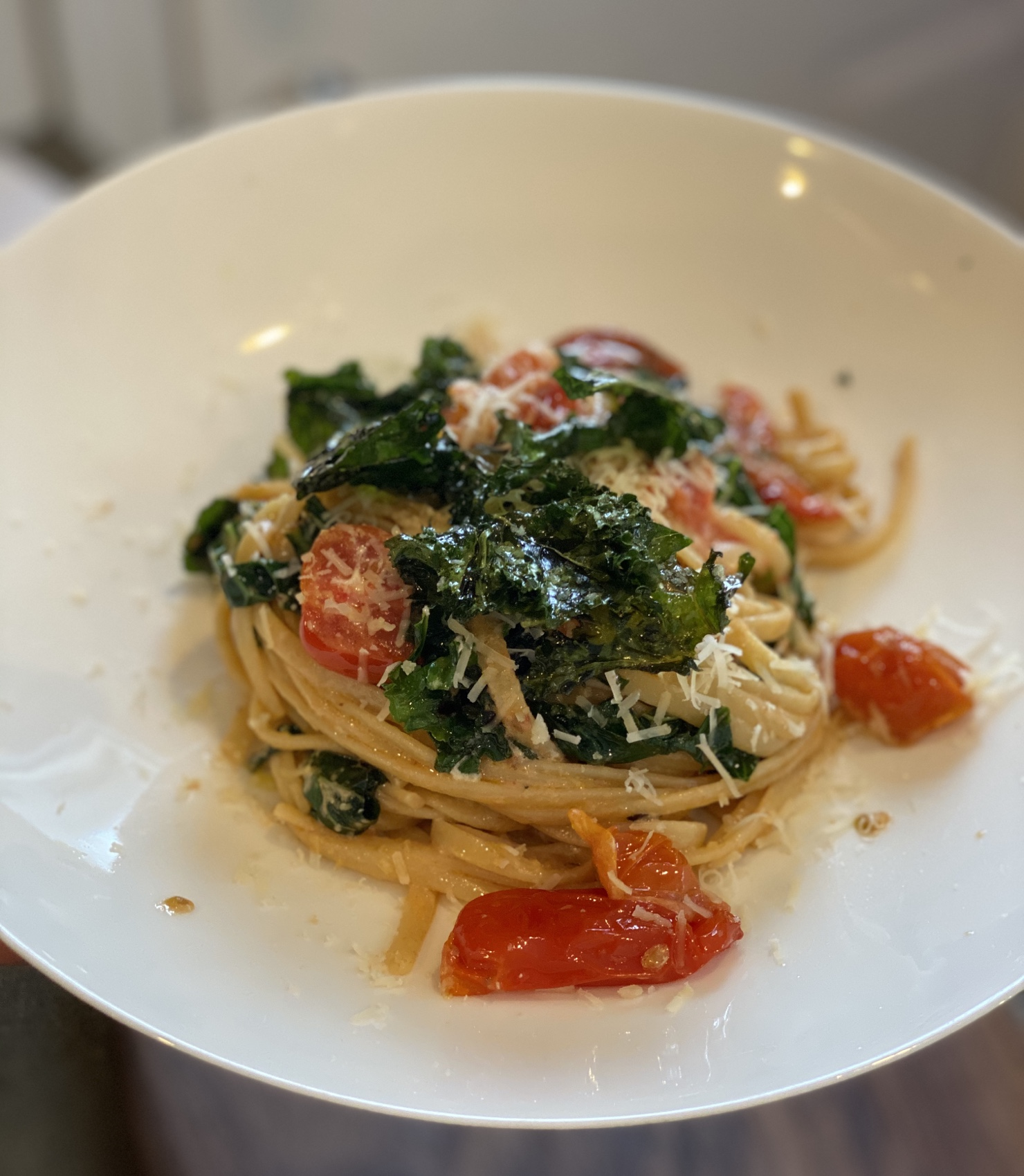 Creamy Tomato and Kale Linguine