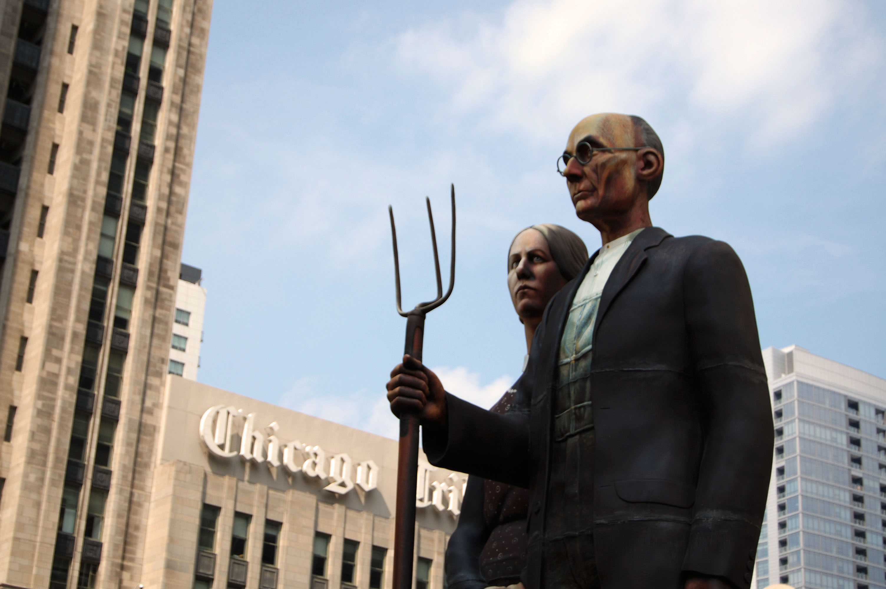 American Gothic Statues and Tribune Tower