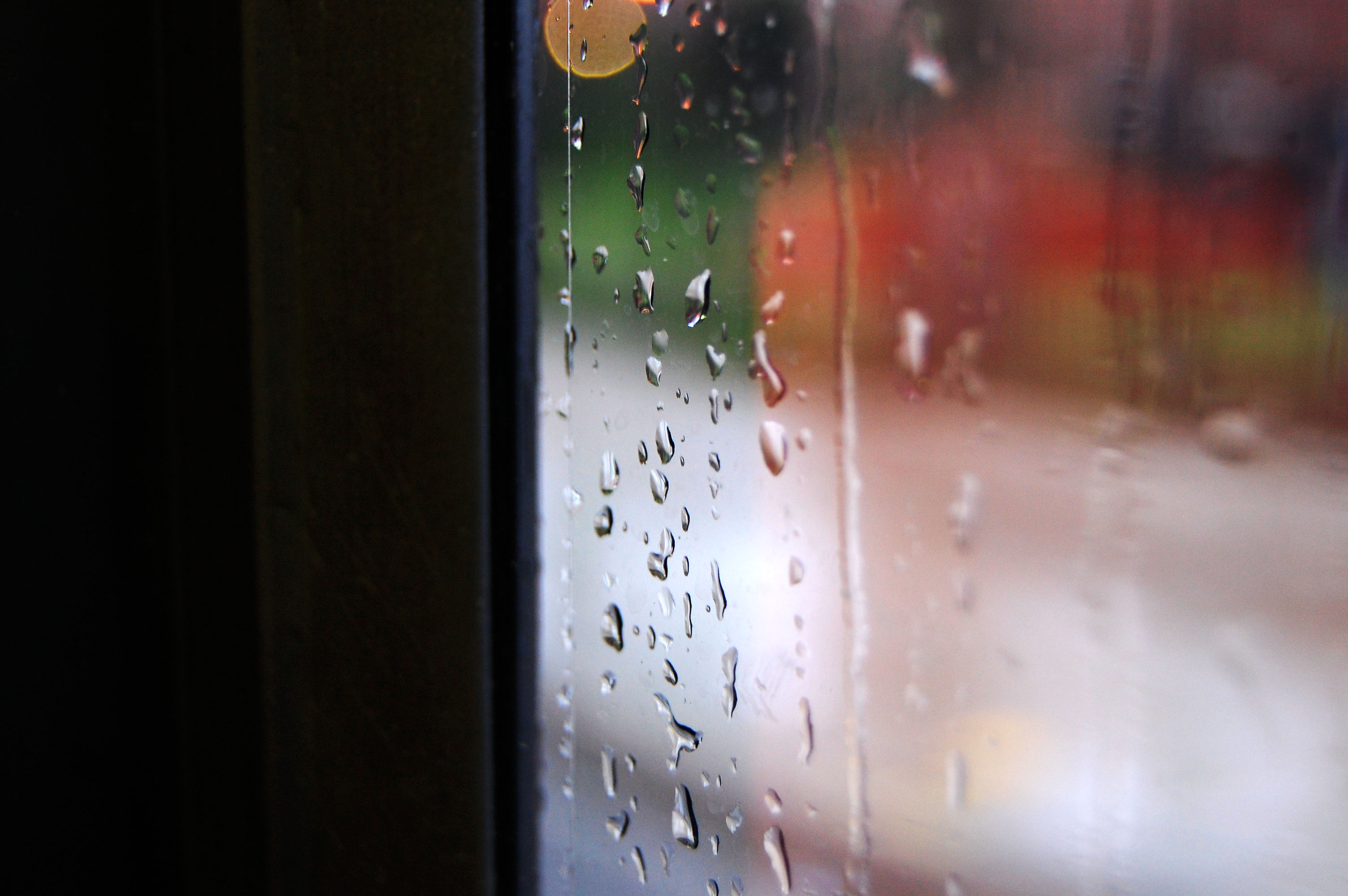 Rain on Bus Window