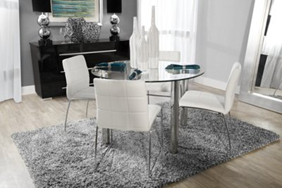 card table and padded chairs outside chair lifts napoli white round & 4 upholstered chairs: dining room