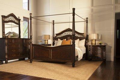 City Furniture Tradewinds Dark Tone Canopy Bed