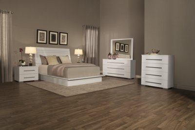 Dimora3 White Wood Platform Bed Twin Queen  King Beds