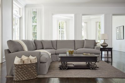Delilah Gray Fabric Large TwoArm Sectional