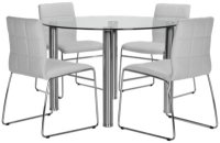 Napoli White Round Table & 4 Upholstered Chairs: Dining Room