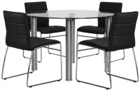 Napoli Black Glass Table & 4 Upholstered Chairs