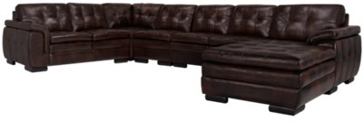 dark brown sectional sofa chaise montero microfiber convert a couch sleeper bed trevor leather large right