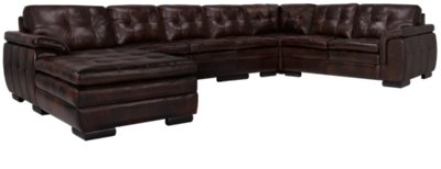 dark brown sectional sofa chaise ethan allen bennett reviews trevor leather large left