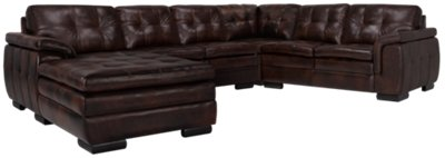 brown leather sectional sofa with chaise mod sofas city furniture trevor dark small left