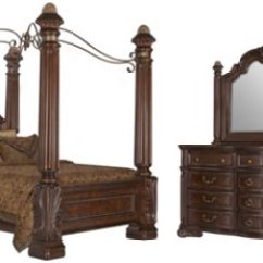 Closeout Living Room Furniture Sets Blue City Furniture: Regal Dark Tone Leather Canopy Bed