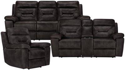 gray microfiber power reclining sofa farmhouse city furniture phoenix dk recliner