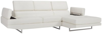white microfiber sectional sofa loose fit slipcovers for sofas city furniture loki right chaise