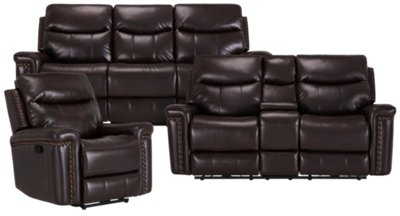 dark gray leather living room furniture how to decorate modern city sets wallace brown microfiber manually reclining