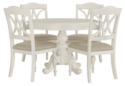 White Wooden Dining Chairs Quinn White Round Table 4 Wood Chairs Dining Room Dining