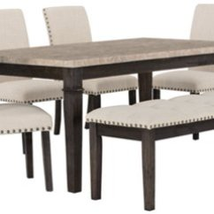 Marble Top Table With 4 Chairs Wooden Lounge Chair City Furniture Portia Dark Tone