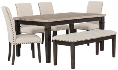 Table With Chairs Portia Dark Tone Marble Table 4 Chairs Bench Dining Room