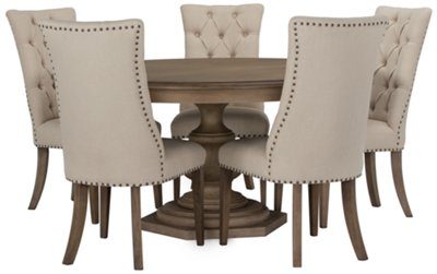 Table With Chairs Haddie Light Tone Round Table 4 Upholstered Chairs