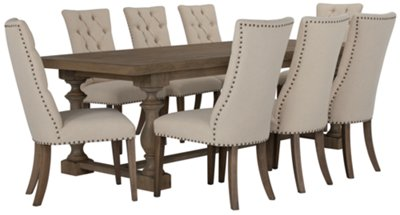 Dining Room Upholstered Chairs Haddie Light Tone Trestle Table 4 Upholstered Chairs