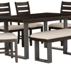 Kitchen Table And Chair Chiavari Chairs Wholesale Dining Room Sets City Furniture Sawyer Dark Tone Wood 4 Bench
