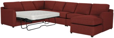 red sectional sofa chaise tufted grey city furniture asheville fabric right