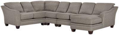 dark grey sectional sofa with chaise air bed review avery gray fabric large right