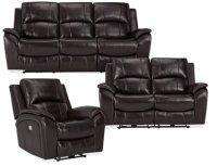 Memphis Dark Brown Leather & Vinyl Power Reclining Living Room